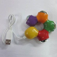 Multi Color Rotating Flower 4 Port USB Hub for PC Laptop