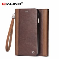 QIALINO Ultra Thin Genuine Leather Wallet Stand Case For Apple iPhone 6 plus 5.5inch with card slot, For iPhone 6 Flip Wallet