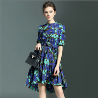 2016 New patterns women printed half sleeve mini elastic waist frocks chiffon summer cool beautiful lady fashion dress