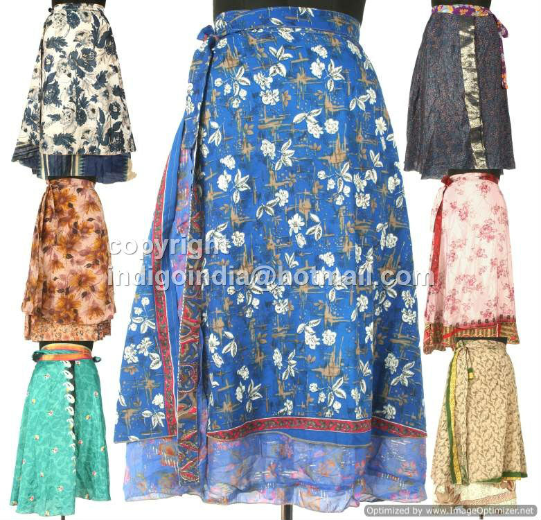 Vintage Silk Sari Magic wrap skirts dress Mix Sizes