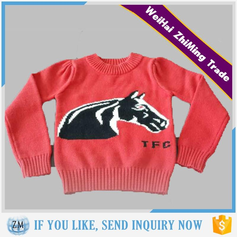 kids fashions intarsia pattern red color pullover sweater