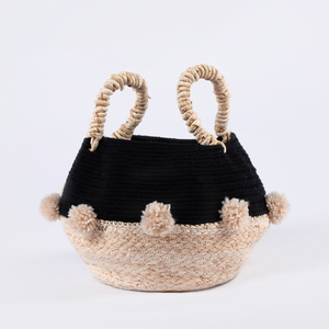 Woven seagrass cotton rope storage baskets with pompoms
