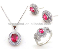 AAA Grade White Stone and Colored Crystal Brass Material Cheap Fashion Jewelry Set