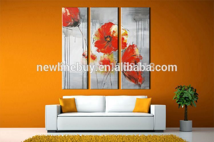3 piece floral painting decorative art set modern wall art traditional Chinese red rose hand painted Canvas Oil Painting