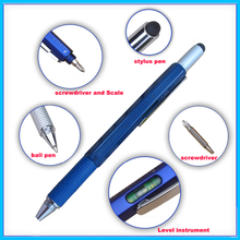 Measuring Tool Pen With Gradienter Rulers Screw Driver Ballpoint Touch Pen