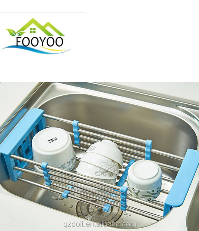 FOOYOO FY-909 draining rack dishes drain rack kitchen organizer foods and fruit sink folding drain rack