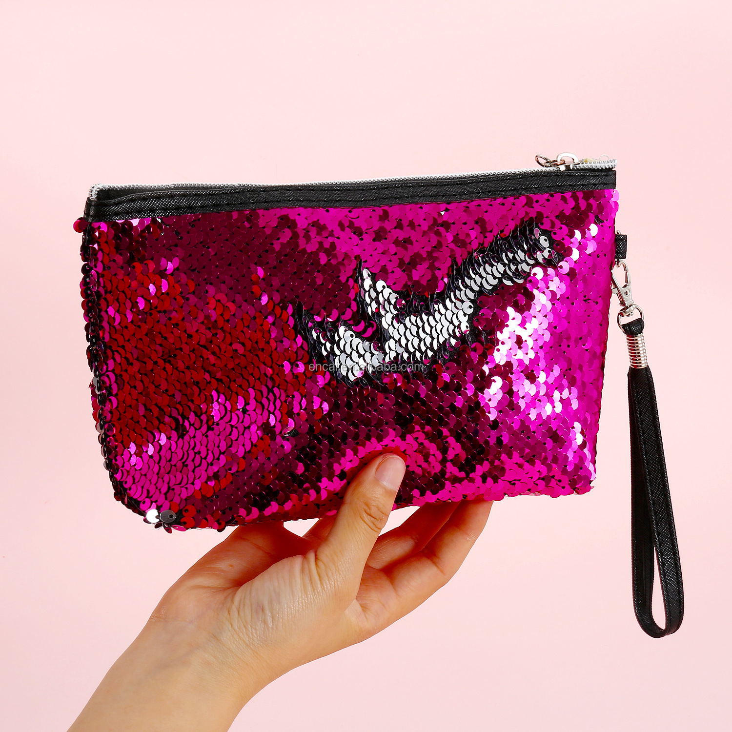 Encai Glittering Paillette Clutch Bag Reversible Mermaid Sequins Cosmetic Organizer Bag With Wrist Strap