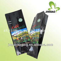 High food quality empty resealable coffee packaging bag with valve