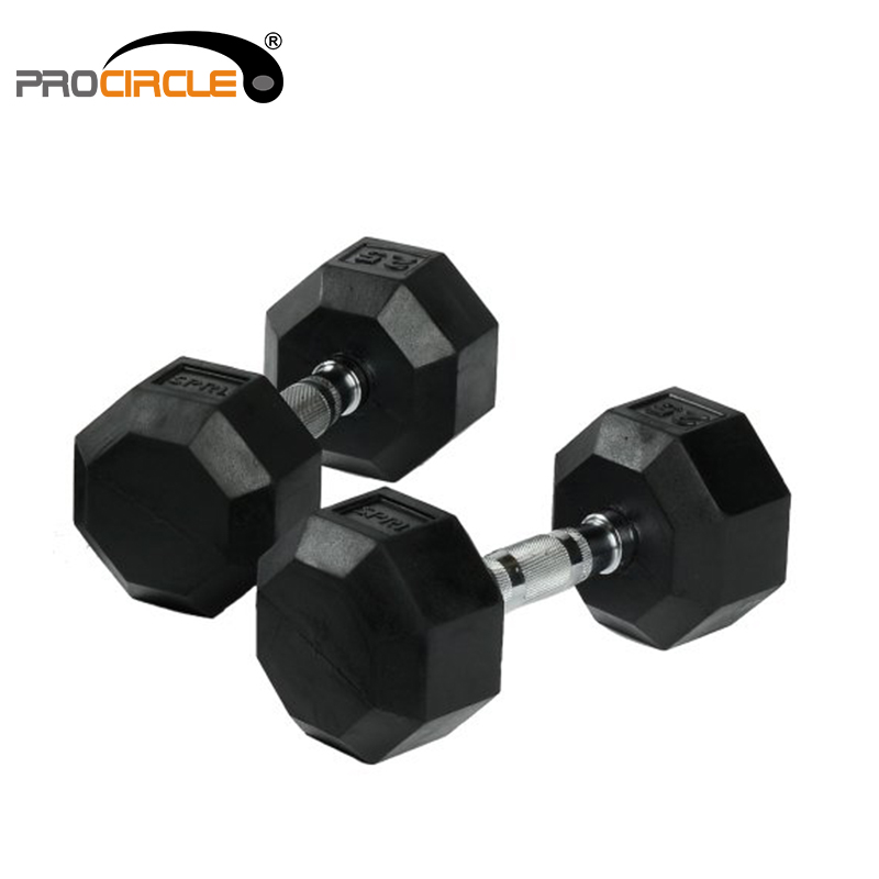 Cross Fitness Gym Basic Equipment Rubber Coated Hex Dumbbell