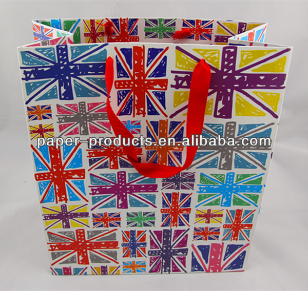 Colorful UK Flags Printing Paper Carries Bags For Chevron