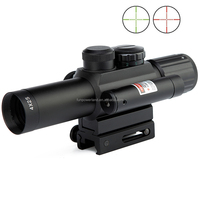 Compact M6 4X25 rifle scope red green Mil-Dot Reticle with side attached red laser sight/Tactical Optics Scopes