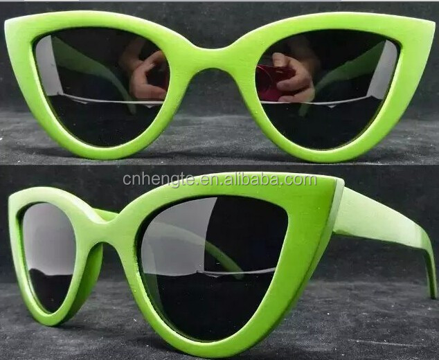 Cat eye shaped party bamboo sunglasses