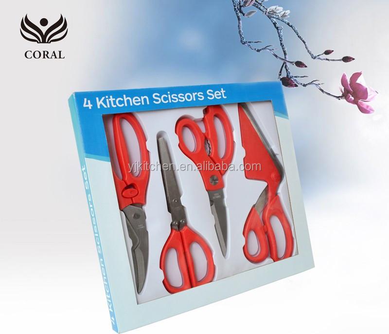 Top Quality 4pcs Kitchen Scissor Set Buy Types Of Scissors Types Of Kitchen Scissors Multi