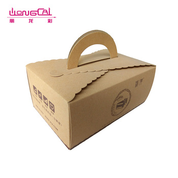 Custom high quality 200g disposable brown take away food kraft paper lunch box with handle