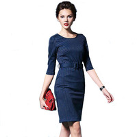 Latest dress designs for ladies stripe formal office dress cotton and polyester career dresses Z038