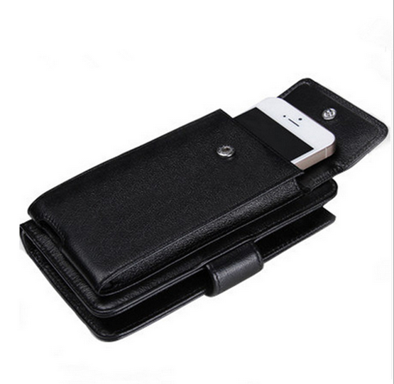 fashion multi-function real leather cellphone pocket key card holder organizer wallet
