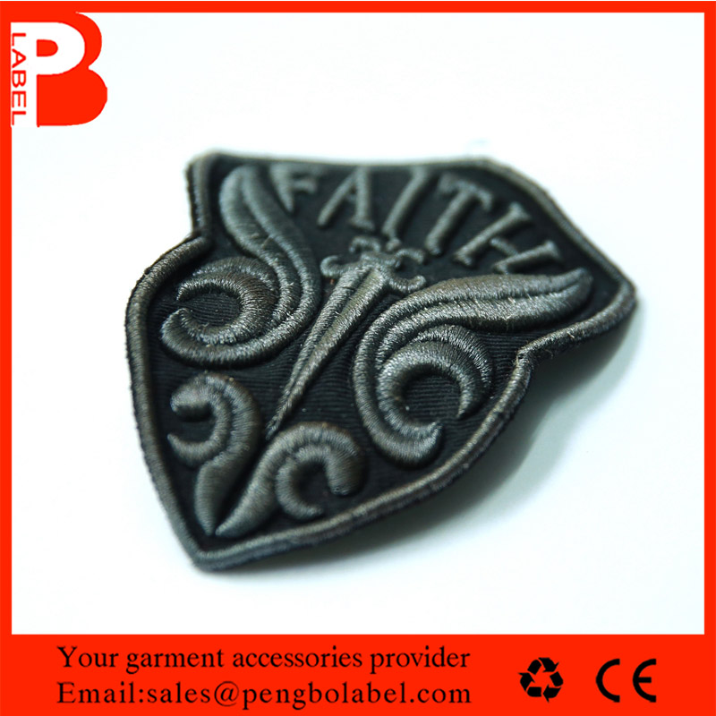 factory direct 3d Embroidered iron on fabric patch grey iron-on badge