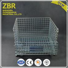 Euro industrial warehouse folding stainless steel wire mesh storage container