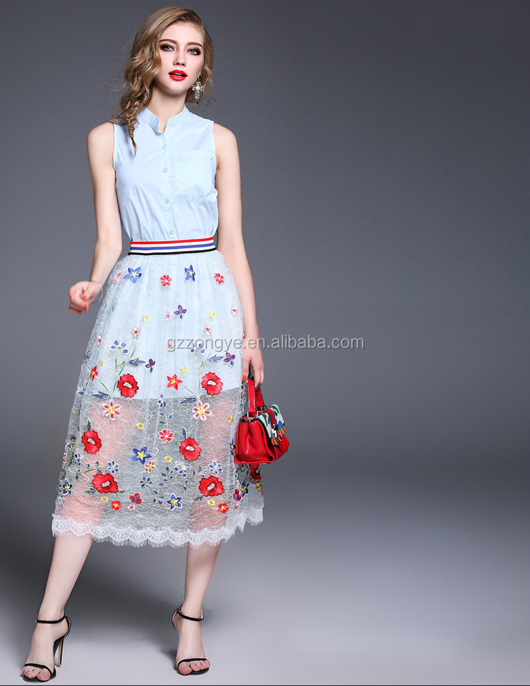 Summer ladies sleeveless shirt long top and sexy transparent dress pics of embroidery gauze skirt two pieces sets OEM supply