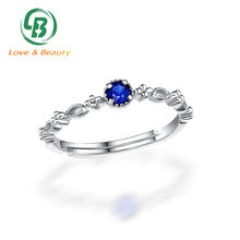 Stackable white gold jewellery genuine sapphire princess ring