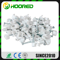 ROUND PLIABLE SHOCK RESISTING CABLE CLIPS 7MM WHITE HARDENED NAIL NEW