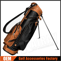 "Custom Made Hot Sale Leather Golf Stand Bags, 9"", 4-Way, Adjustable Shoulder Strap"