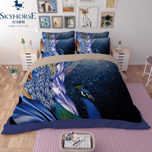Hot selling 100% cotton 3d beautiful peacock printing bedding set made in china