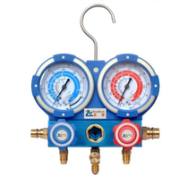 R410a aluminum accurate dual manifold gauge with brass valve body