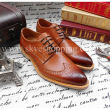Custom Made Lining Insole Outsole Genuine Leather Oxfords Brogue Shoes in Goodyear Welted