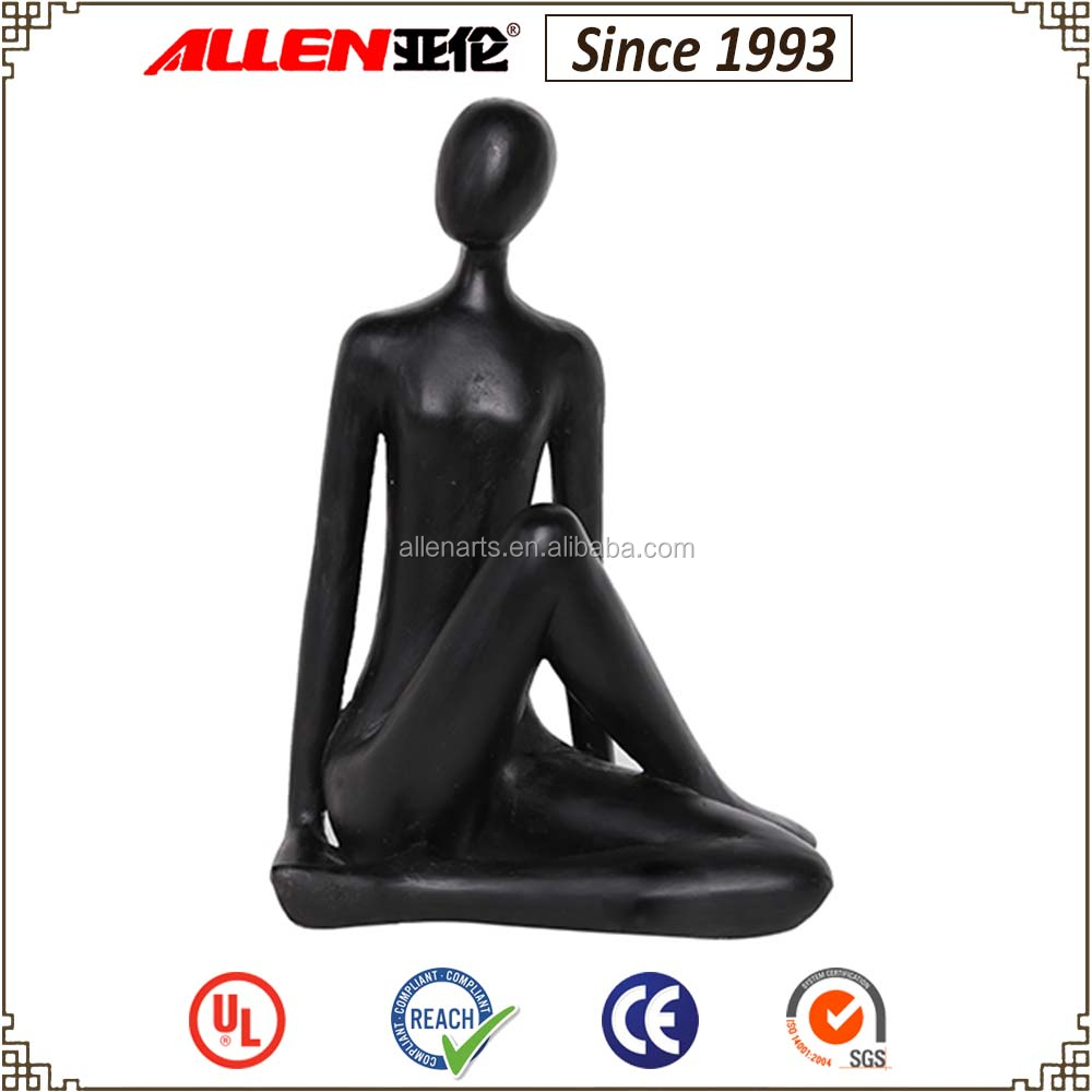 "14"" black painted siting woman resin figurine for home table top decoration"