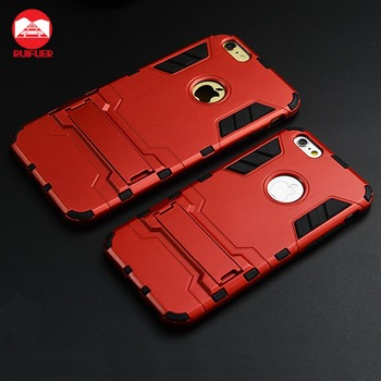 Hotsale 2 in 1Hard Snap On Protective Dual Layer Rugged Armor Iron Man With KickStand Phone Case for Apple Iphone 6 6s Plus