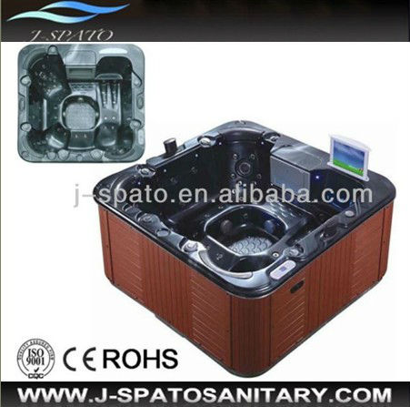 Fancy Bathtub with TV Sanitary Ware Pop-up TV Outdoor Spa