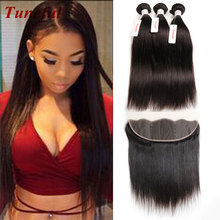 Peruvian Virgin Hair With Closure 3 Bundles Straight Hair With Closure Human hair Ear To Ear Lace Frontal Closure With Bundle