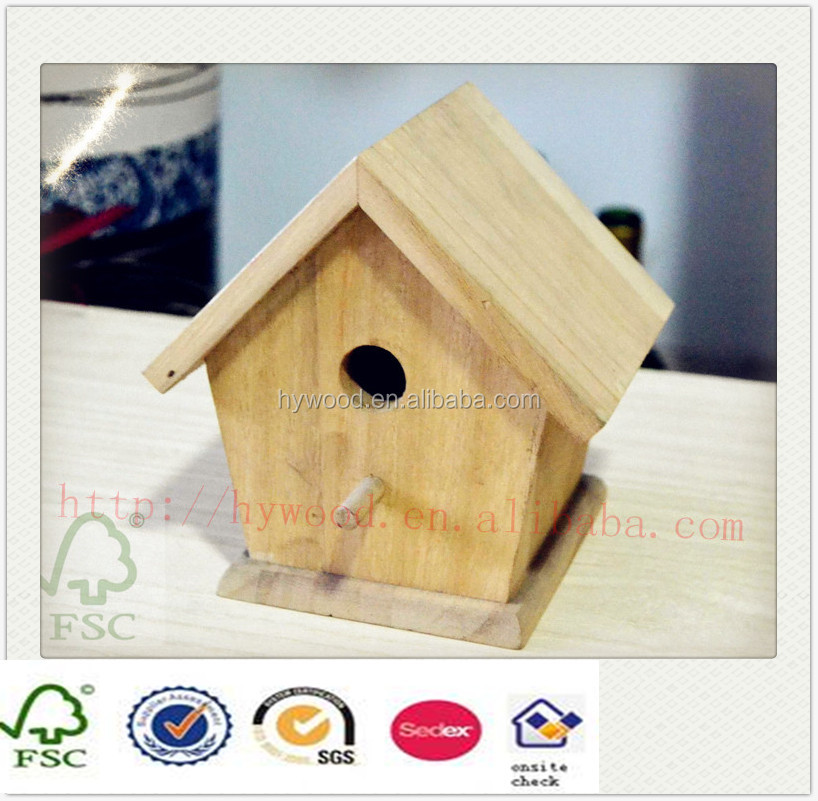FSC cheap clay small bird feeder decorative hanging unfinished wood carved mini bird house