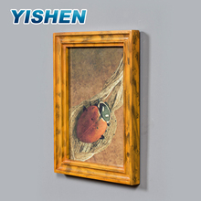 Wholesale latest design wood yellow shadow box picture photo wall molding frame