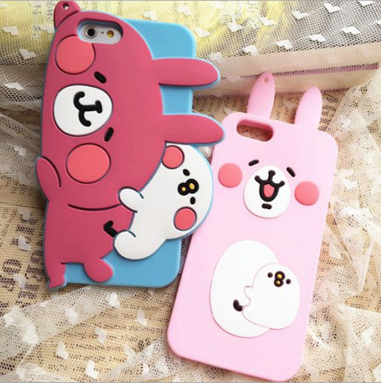 Rabbit ears bear food grade Gel silicone phone cases with bumpers for iphone6 and iphone6+