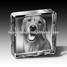 Square crsytal glass photo paperweight