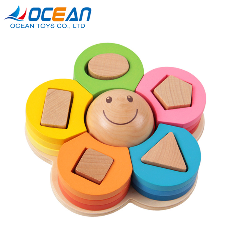 Children assemble products flower story cubes board 3d wooden puzzle block at home