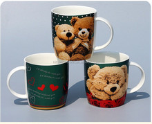 hot sale ! 300cc funny ceramic coffee mug with Teddy bear printing