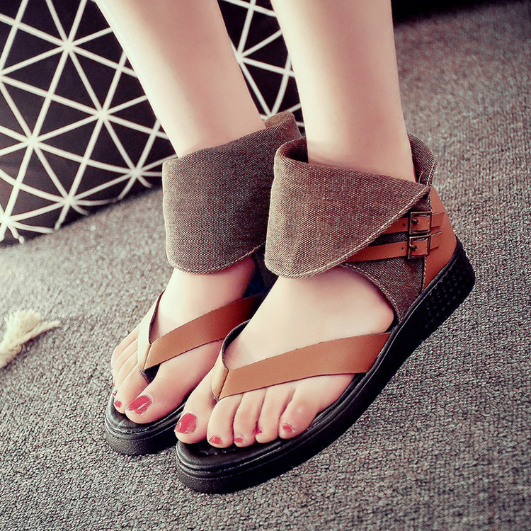 2015 Summer style Vintage women sandals Belt buckle flip flops ladies <strong>flat</strong> women shhoes