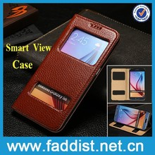Genuine leather smart view phone case for samsung galaxy s6 case