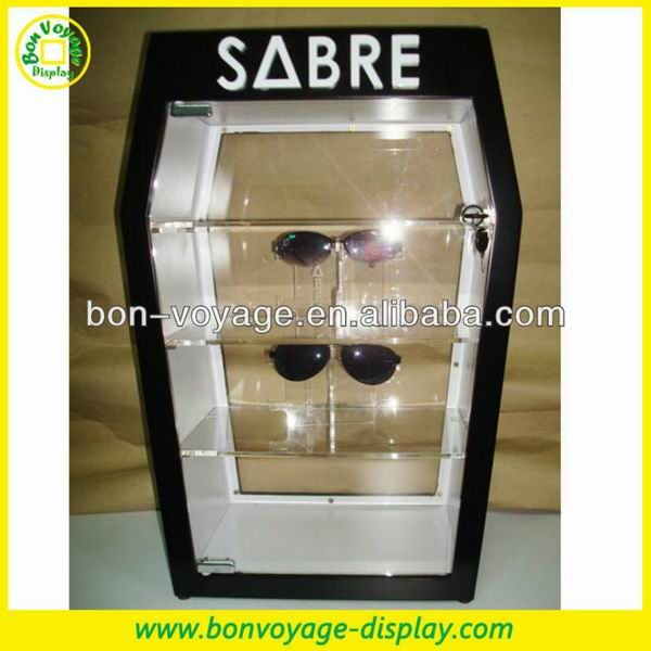 black classic MDF and Acrylic tabletop sunglasses display cabinet with led