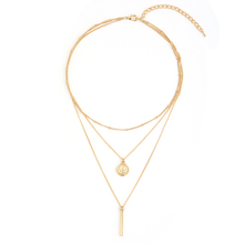 Bar & Round Pendant Drop Layered Necklace Beaded Chain Choker for Women Jewelry