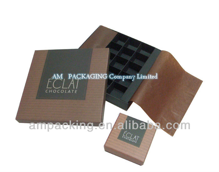 off set printing paper cup inside packing rigid chocolate box with divider card
