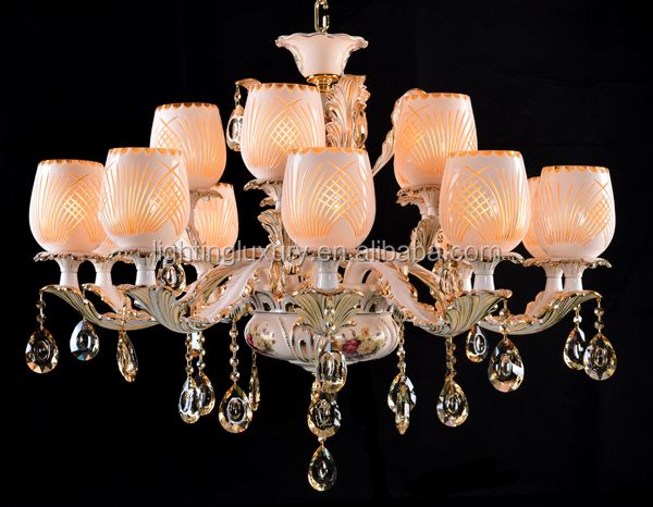 Hot salse new Classic Italian style Ceramic chandelier with Zinc Arms and handmade glass shade