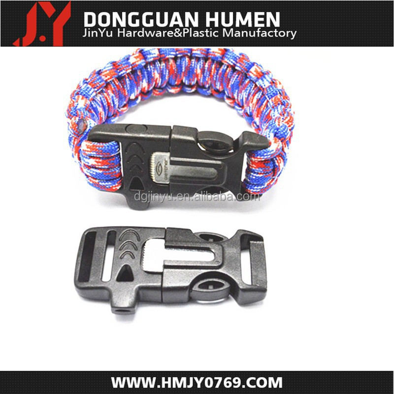 Plastic side release whistle buckle /flat whistle buckle/ whistle buckle with fire starter