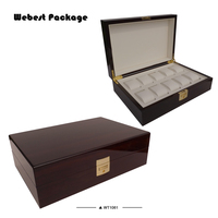 Webest customized 10 compartments stylish custom watch display organizer box with lock