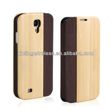 2013 New For Samsung Galaxy S4 Cover Case, Phone Case Cover For Samsung Galaxy S4 Wood +PU Leather Case