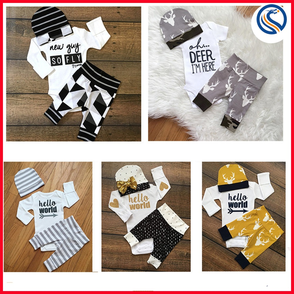2017 hot sale spring summer boy cotton kids infant clothing sets