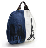 Fashion Stock Latest European Eiffel Tower Style Canvas Novelty Traveling OEM Backpack Bag Knapsack Shoulders Bag For Teenager